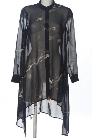 H&M Divided Blusa transparente negro-blanco puro estampado con diseño abstracto