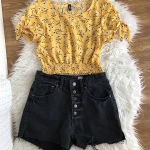 H&M Divided Tshirt Bluse cropped bauchfrei Blumenmuster Gelb Gr. 34 w Neu Boho