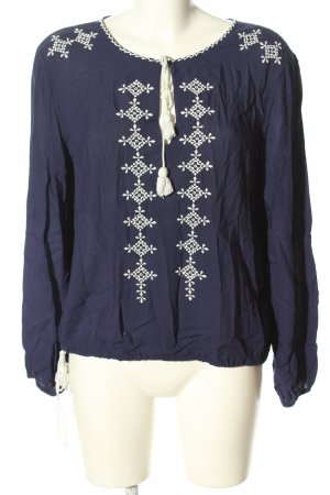 H&M Divided Tunikabluse blau-weiß grafisches Muster Casual-Look