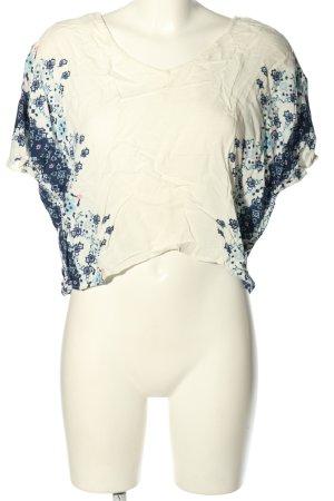 H&M Divided Tunique-blouse crème-bleu motif de fleur style décontracté