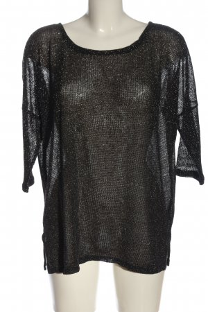 H&M Divided Boothalsshirt zwart-zilver Webpatroon glitter-achtig