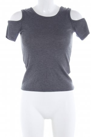 H&M Divided Boothalsshirt lichtgrijs gestippeld casual uitstraling