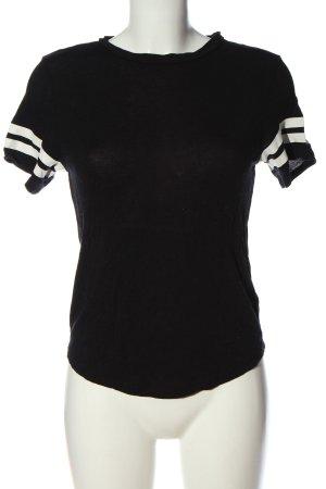 H&M Divided Koszulka z dekoltem w łódkę czarny-biały Wzór w paski