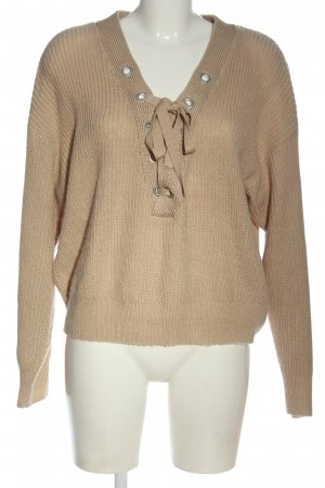 H&M Divided V-Ausschnitt-Pullover creme Casual-Look