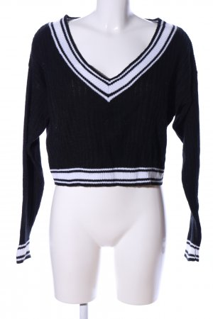 H&M Divided V-Ausschnitt-Pullover schwarz-weiß Streifenmuster Casual-Look