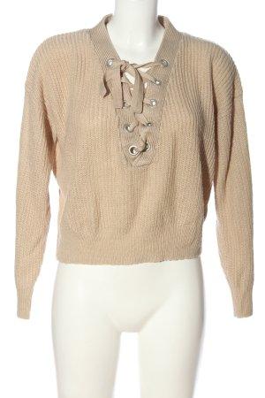 H&M Divided V-Ausschnitt-Pullover nude Casual-Look