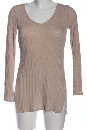 H&M Divided V-Ausschnitt-Pullover wollweiß Streifenmuster Casual-Look