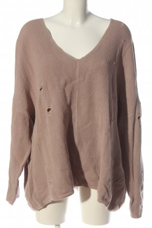 H&M Divided V-Neck Sweater nude cable stitch casual look