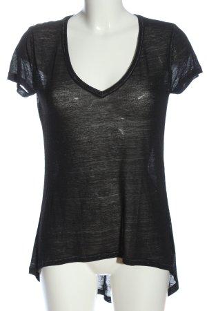 H&M Divided V-Ausschnitt-Shirt schwarz Webmuster Casual-Look