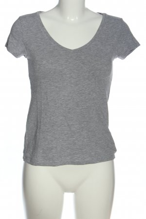 H&M Divided V-Ausschnitt-Shirt hellgrau Casual-Look