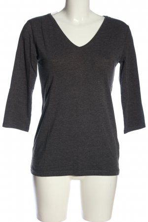H&M Divided V-Ausschnitt-Shirt hellgrau meliert Casual-Look