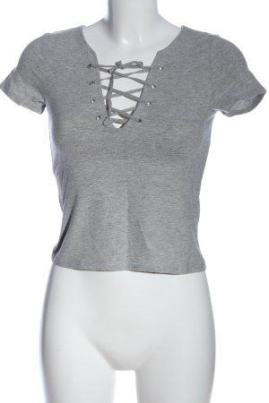 H&M Divided V-hals shirt lichtgrijs gestippeld casual uitstraling