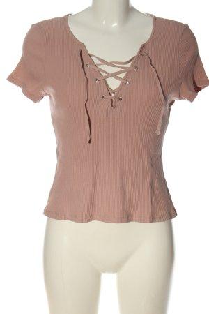 H&M Divided V-Ausschnitt-Shirt nude Streifenmuster Casual-Look