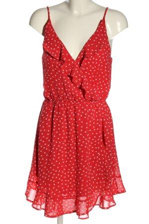 H&M Divided Robe à volants rouge-blanc cassé imprimé allover
