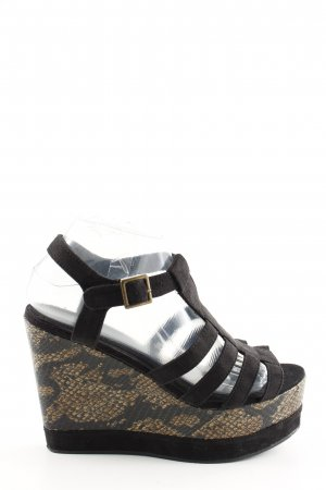 H&M Divided Wedges Sandaletten schwarz Animalmuster Casual-Look