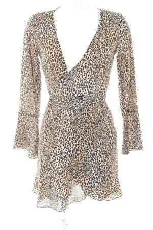 H&M Divided Robe portefeuille noir-crème motif léopard élégant