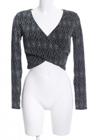 H&M Divided Maglietta aderente nero-bianco stampa integrale elegante