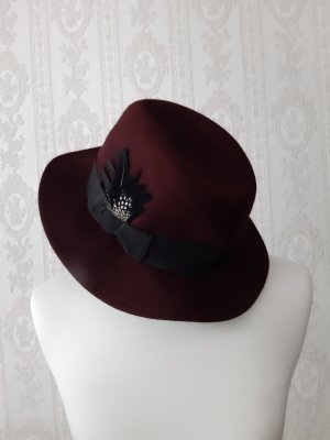 H&M Divided Wollhut bordeaux-schwarz