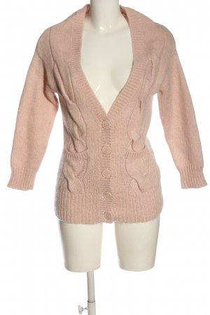 H&M Divided Wool Sweater pink cable stitch casual look