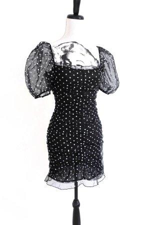 H&M drapiertes Tüll Kleid Polkadot