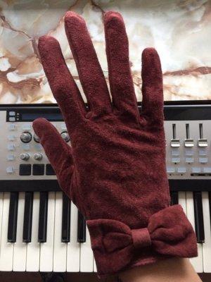 H&M Leren handschoenen bordeaux-roodbruin