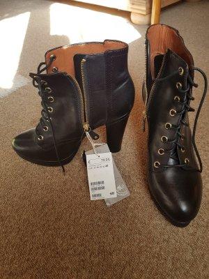H&M ECHTLEDER (Genuine Leather) Stiefeletten in 41