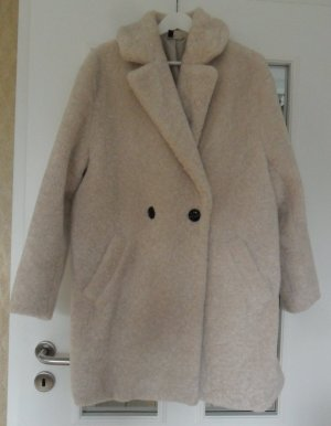 H&M Płaszcz oversize piaskowy brąz-biały Poliester