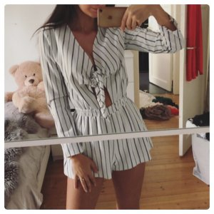 H&M Einteiler Overall Maritim Cut Out Playsuit Top Shorts Blogger