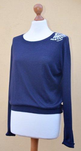 H&M eleganter, dunkelblauer Pullover mit Glasstein-Akzenten, Gr.36/S