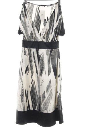 H&M Empirekleid weiß-schwarz abstraktes Muster Business-Look