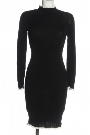 H&M Etuikleid schwarz-weiß Zopfmuster Casual-Look
