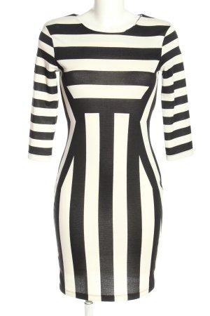 H&M Etuikleid weiß-schwarz Streifenmuster Business-Look