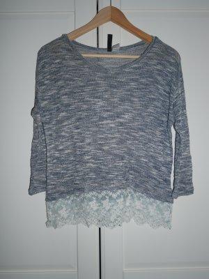 H&M Crochet Shirt blue-white
