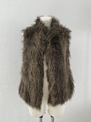 H&M Fake Fell Weste gr 38 braun Khaki mit Ösen