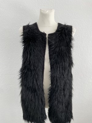 H&M Fake Fur Vest black