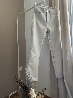 H&M Pantalon en cuir beige clair
