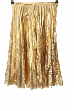 H&M Faltenrock goldfarben Glanz-Optik
