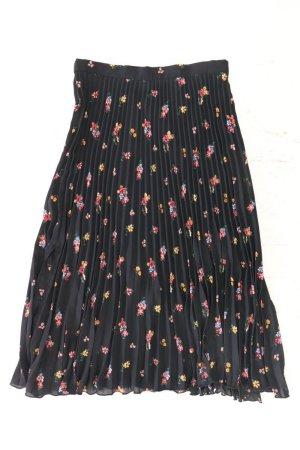 H&M Faltenrock Größe 36 mit Blumenmuster schwarz