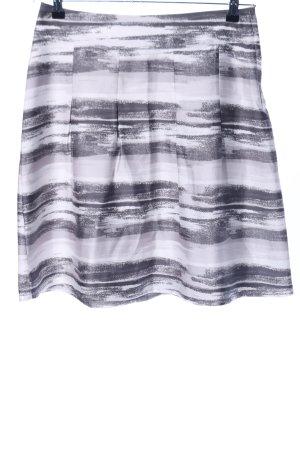 H&M Faltenrock weiß-hellgrau abstraktes Muster Casual-Look