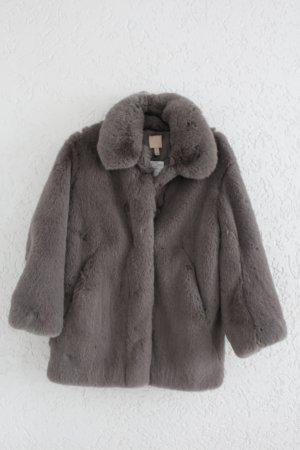 H&M Chaqueta de piel sintética marrón grisáceo piel artificial
