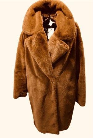 H&M Płaszcz ze sztucznym futrem cognac-brązowy