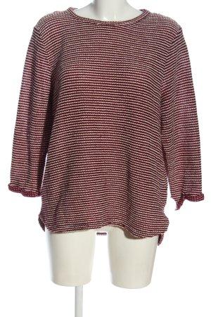 H&M Feinstrickpullover rot-weiß Streifenmuster Casual-Look