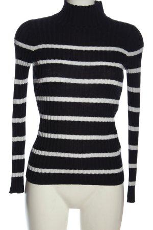 H&M Feinstrickpullover schwarz-weiß Streifenmuster Casual-Look