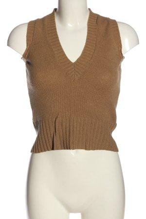 H&M Sweter bez rękawów z cienkiej dzianiny brązowy W stylu casual