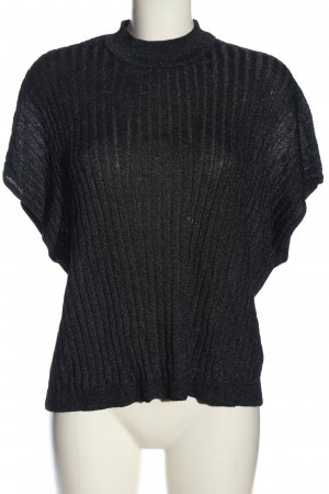 H&M Cárdigan de punto fino negro estampado a rayas look casual