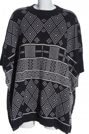 H&M Knitted Poncho black-white abstract pattern casual look