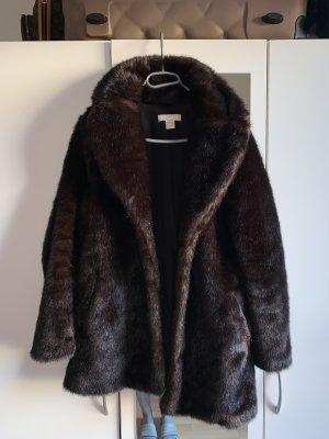 H&M Fur Jacket dark brown