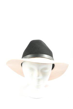 H&M Chapeau en feutre noir-crème style décontracté