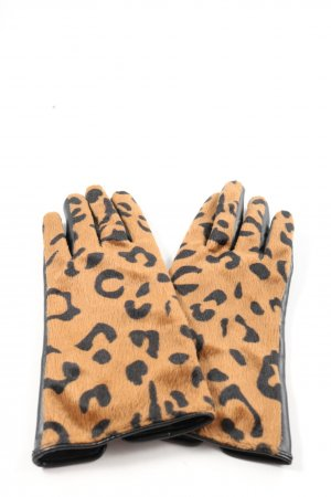 H&M Fingerhandschuhe braun-schwarz Animalmuster Casual-Look