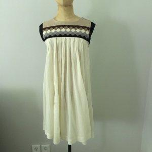 H&M Vestido babydoll blanco puro-camel Algodón